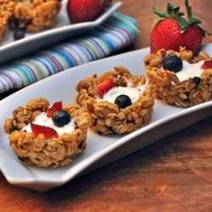 Almond Honey Granola Cups.  These are SOOOOO good!!!!! I put mine in a mini muffin pan instead of a regular one though.  This way it feels like I'm eating more. :)