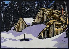 William Seltzer Rice - · Snowed In - Calaveras Big Tree Hotel · Circa (edition of about · Color Woodcut Block Print on Japanese laid Paper · x Linocut Prints, Art Prints, Block Prints, Woodcut Art, Winter Illustration, Big Tree, Japanese Prints, Arts And Crafts Movement, Wood Engraving