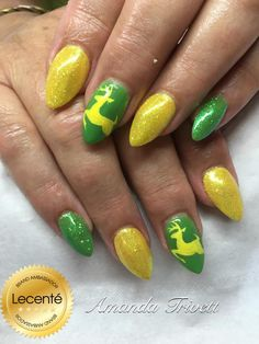 #CND #shellac bicycle #yellow & lush tropics with #Lecenté #banana & #apple #iridescent #glitters & #handpainted #design using the #lecente #detailer #brushes #nails by amanda trivett #animalnails #lovelecente #yellownails #greenails #lecenteglitter #glitternails #nailart #nailideas