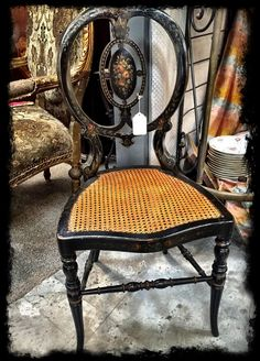 Charming petite painted chair, $295.  Gaslamp Antiques Too, booth T108.