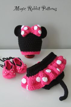 Crochet Minnie Mouse Hat, Diaper cover with Skirt and Shoes - PDF Pattern. $6.15, via Etsy.