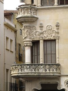 Corner balcony of the Casa Navàs, designed by Lluís Domènech i Montaner, in Reus, Catalonia, Spain.