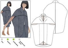 Lux Coat Sewing Pattern By Style Arc - Slightly over sized sleeveless coat with a shawl collar Source by HeyNancyLSimon Coat Pattern Sewing, Coat Patterns, Pdf Sewing Patterns, Clothing Patterns, Dress Patterns, Pattern Drafting, Fashion Sewing, Diy Fashion, Sewing Clothes