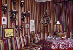 Baldwin often used cotton fabric, geometrics , dark walls and and pattern on pattern in his designs.  These elements would later be added into the design soup mix which would become Hollywood Regency.