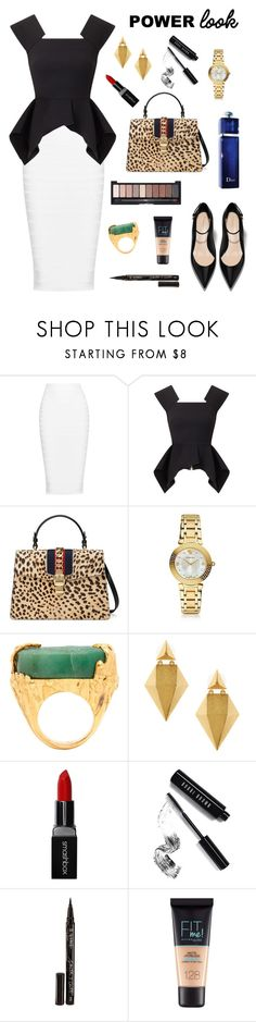 """Always the Corporate One"" by ravenclaw-phoenix on Polyvore featuring Cushnie Et Ochs, Roland Mouret, Gucci, Versace, Yves Saint Laurent, Stephanie Kantis, Smashbox, Bobbi Brown Cosmetics, Smith & Cult and Maybelline"