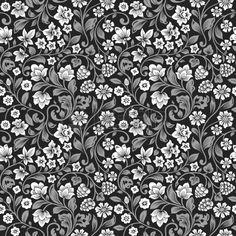 Vector sin patr�n floral vintage. Siluetas estilizadas de flores y frutas sobre un fondo negro. Flores blancas con hojas grises. photo