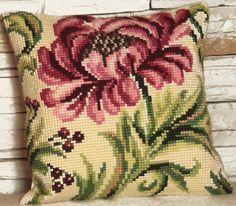 Cross Stitch Kits Collection D'Art Cross Stitch Cushion Kit: Wild Rose (right) - Embroidery Kits, Cross Stitch Embroidery, Rose Embroidery, Cross Stitch Kits, Cross Stitch Patterns, Cross Stitch Cushion, Needlepoint Kits, Cross Stitch Flowers, Cross Stitching
