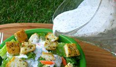Garlic Parmesan Ranch Salad Dressing & Homemade Croutons