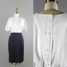 Size S/M. 1980s Polka Dot Dress Navy and White / Summer Batwing Pencil Dress 80s Vintage $15