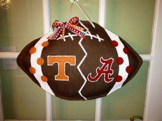House Divided - Bama vs Tennessee - Burlap Door Hanger. $35.00, via Etsy.