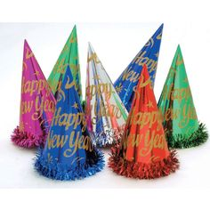 Gold Paper Party Hats New Year with Fringe/Case of 50