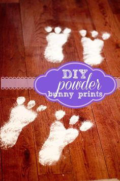 Why not the easter bunny? Easter Bunny Powder Prints to leave around the house on Easter morning. So cute and easy to clean up! Easter Crafts, Holiday Crafts, Holiday Fun, Easter Ideas, Holiday Ideas, Easter Decor, Easter Recipes, Holiday Parties, Festive