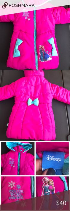 Disney FROZEN Pink Winter Jacket Adorable Disney Frozen Hooded Fleece Lined Jacket. Great for the Frozen Lovers out there. Super warm and trendy!  Great condition. Faint black mark on one bow. See last photo. Disney Jackets & Coats Puffers