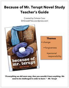 Because of Mr. Terupt Novel Study Teacher's Guide   5th Grade Files