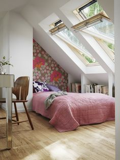 5 Ways to a Stylish 5 Ways to a Stylish Loft Conversion - make your attic the highlight of your home. How to create a stylish loft conversion particularly if you want a loft bedroom or attic office. How would you convert your attic? My Ideal Home, House, Small Spaces, Home, Home Bedroom, Stylish Loft, House Styles, House Interior, Small Bedroom