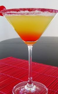 Pineapple Upside Down Cake Martini  1 gorgeous drink  1 part vanilla vodka (stolichnaya vanil)  1 dash Grenadine  1 part pineapple juice  1 maraschino cherry, of course  Shake vanilla vodka with pineapple juice in a cocktail shaker with ice.  Strain into a cocktail glass.  Add a dash or two of grenadine so that it settles to the bottom, garnish with cherry.