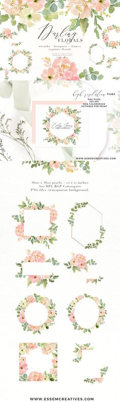 Wedding Invite Watercolor Flower PNG by Essem Creatives on @creativemarket
