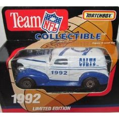 Indianapolis Colts 1992 NFL Diecast Sedan 1:63 Scale Collectible Limited Edition Football Team Car By White Rose Matchbox by NFL  $23.49