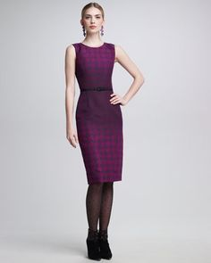 Sleeveless Ombre Houndstooth Printed Dress by Oscar de la Renta at Neiman Marcus.