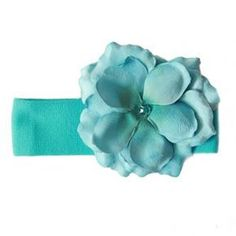 Jamie Rae Teal Rose Headband. Wide teal blue nylon headband with matching rose embellishment. See More Headbands at http://www.ourgreatshop.com/Headbands-C199.aspx