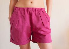 Pink Linen Women Shorts Size S 36 EU by Labzazuza on Etsy