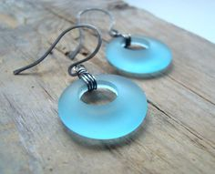 Aqua Sea Glass Circle Earrings Oxidized Sterling Silver Beachy Summer Fashion Beach Glass Jewelry Gifts Under 40 Turquoise