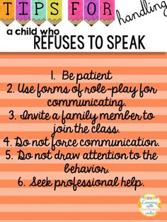 Tips For:  How to Handle a Child who Refuses to Speak - Learning with Sunflower Smiles