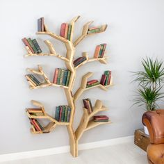 Elm Tree Bookshelf - Our New Tree Shelf Design Handmade in the UK by BespOakInteriors on Etsy https://www.etsy.com/listing/484957511/elm-tree-bookshelf-our-new-tree-shelf