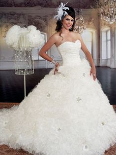 White Quinceanera Dresses - White Dress With Full Ruffled Skirt