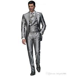 Acquista Abiti Da Sposo Slim Fit Bianchi Abito Da Lavoro Italiano Abiti Da Uomo 3 Pezzi Abiti Da Sposa Smoking Uomo Giacca + Pantaloni + Gilet A
