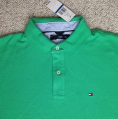 New$50 Mens(XL) TOMMY HILFIGER PIQUE POLO T-SHIRT Solid Lighter Green Golf NWT #TommyHilfiger #PoloRugby