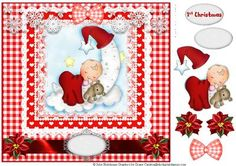 Baby Moon 1st Christmas topper on Craftsuprint designed by Julie Hutchings - Beautiful topper for Baby's first Christmas with decoupage and sentiment tag 1st Christmas and blank for your own sentiment - Now available for download!