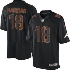 a78fe86dd Nike Broncos  18 Peyton Manning Black Men s Embroidered NFL Impact Limited  Jersey Add to Favorites