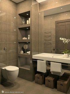 Modern Bathroom Decor: 49 Relaxing Bathroom Design And Cool Bathroom Ideas Modern Bathroom Design, Bathroom Interior Design, Bathroom Designs, Bath Design, Modern Design, Toilet Design, Interior Modern, Modern Luxury, Modern Art