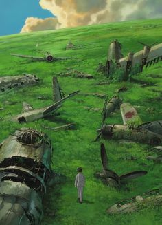 """Jiro walks through a graveyard of airplanes in a dream in """"The wind rises"""" (2013)"""