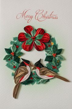 Discover our unique, exquisite quilling cards and send wonderful greeting cards to friends and family. Select a card, then scroll over the picture to zoom in on the amazing quilling detail. Paper Quilling Flowers, Paper Quilling Patterns, Quilled Paper Art, Quilling Paper Craft, Paper Crafts, Quilling Work, Quilling Christmas, Diy Christmas Ornaments, Christmas Wreaths