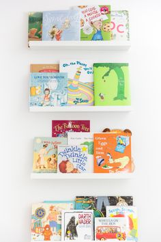 Awesome idea for books in a kid\'s room. The picture ledges are from ...
