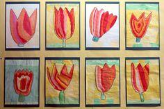 Im Sitzkreis werden Tuplen genau betrachtet: Aus welchen Farben bestehen die Tulpen? Welche Form haben sie? Mit Deckfarben gestaltet jedes Kind seine eigene individuelle Tulpe.