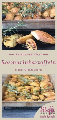 ᐅ Rezept Rosmarinkartoffeln ⇒ Ofenzauberer Pampered Chef Stoneware, Brown Sugar Bacon, Salad Recipes, Healthy Recipes, French Dressing, Stuffed Mushrooms, Stuffed Peppers, Scampi, Kabobs