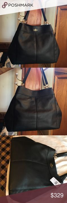 """NWT Coach Large Pebble Leather Hobo/Shoulder Bag! NWT Beautiful Large Coach Natural Pebble Leather Bag! This bag is fabulous! Really Big!!  Brand New! Never Used! With Tags & Dust Silky Coach Dust Bag!  Handles 8.75"""" Drop L 13.5"""" H 12.25""""  W 5.75"""" Coach Bags"""