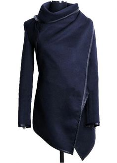Vogue Long Sleeve Turndown Collar Blue Coat