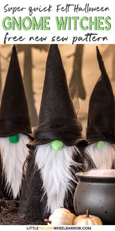 Take a look at these great DIY gnome witches. This Halloween craft is easy and can be made with inexpensive materials found at the dollar store. This great project tutorial includes a free new sew pattern. Make some great gnome witches to guard your Halloween candy supply. #halloween #easy #nosew #diy #frugal #tutorial #littleyellowwheelbarrow