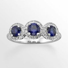 The+Regal+Collection+14k+White+Gold+Genuine+Sapphire+&+1/5-ct.+T.W.+IGL+Certified+Diamond+3-Stone+Frame+Ring