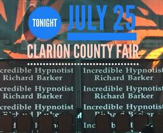If you're near Pittsburgh or in Clarion County come on out for an outrageous time tonight #hypnosis #clarioncountyfair #hypnotistrichardbarker