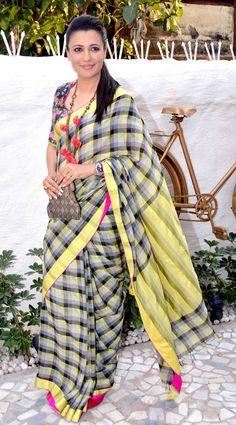 Mini Mathur looking stunning in check sari at the launch of Alvira Agnihotri's new store.