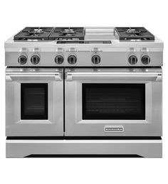 48-Inch 6-Burner with Steam-Assist Oven, Dual Fuel Freestanding Range, Commercial-Style kitchen aid