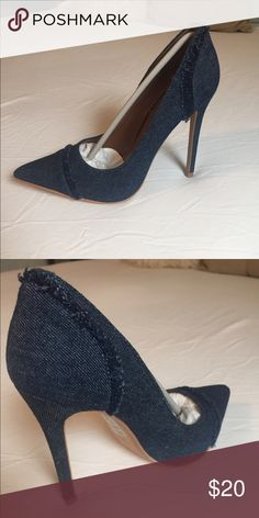 Dark Blue denim finish pumps Never worn. Size 6.5. Dark blue 3 inch heels with simple details.  Box included Shoes Heels