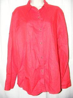 Lauren Ralph Lauren Red 100% Linen Adjustable Sleeve Button Front Top XL #LaurenRalphLauren #Blouse #Casual