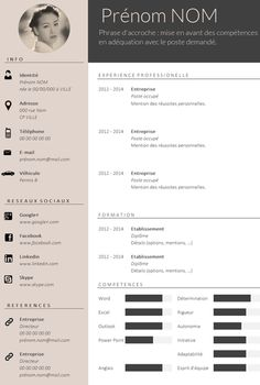 ✿ Envie d'un CV design et tendance ? Plus If you like this cv template. Check others on my CV template board :) Thanks for sharing! Cv Design, Resume Design, Cv Template Professional, Professional Resume, Template Cv, Resume Templates, Conception Cv, Curiculum Vitae, Web Developer Resume