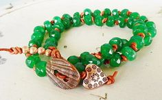 South American Emerald and Knotted Leather 2 Wrap Bracelet/Necklace   GemOnAWire - Jewelry on ArtFire